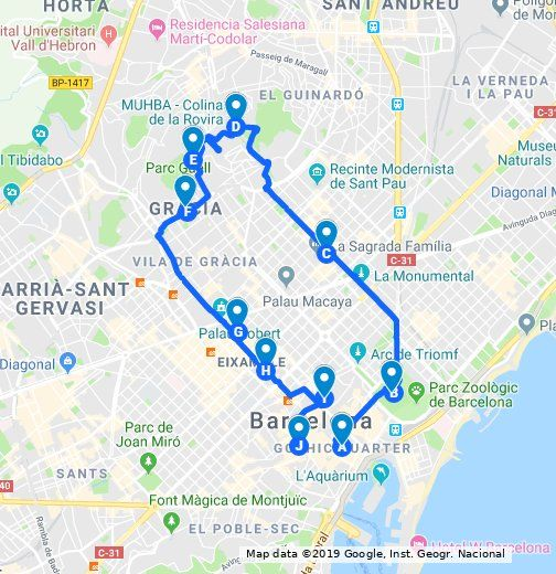 The Points Of Interest On Your Walking Tour Are Mapped Out Use