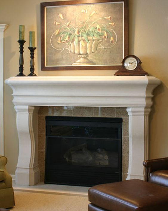 pebble beach stone fireplace mantel Keeping Rooms Pinterest