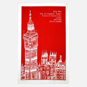 Big Ben Tea Towel Red, 10,50€, now featured on Fab.