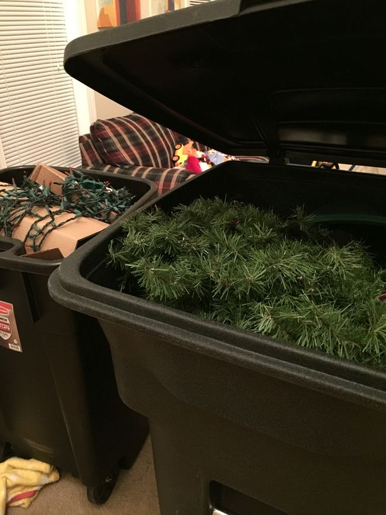 Christmas Tree Storage Use A Large New Garbage Can With A