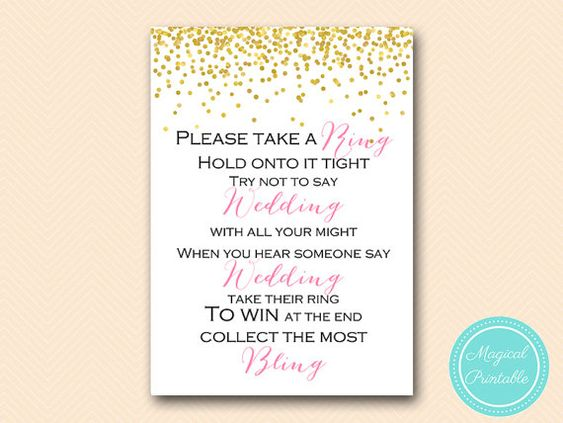 Dont say wedding take a ring game dont say a word game pin game dont say wedding take a ring game dont say a word game pin game gold confetti bridal shower bachelorette wedding shower filmwisefo Gallery