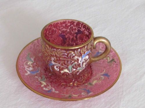 Antique Moser Cut Glass Cup Saucer Gold Plated Enamel