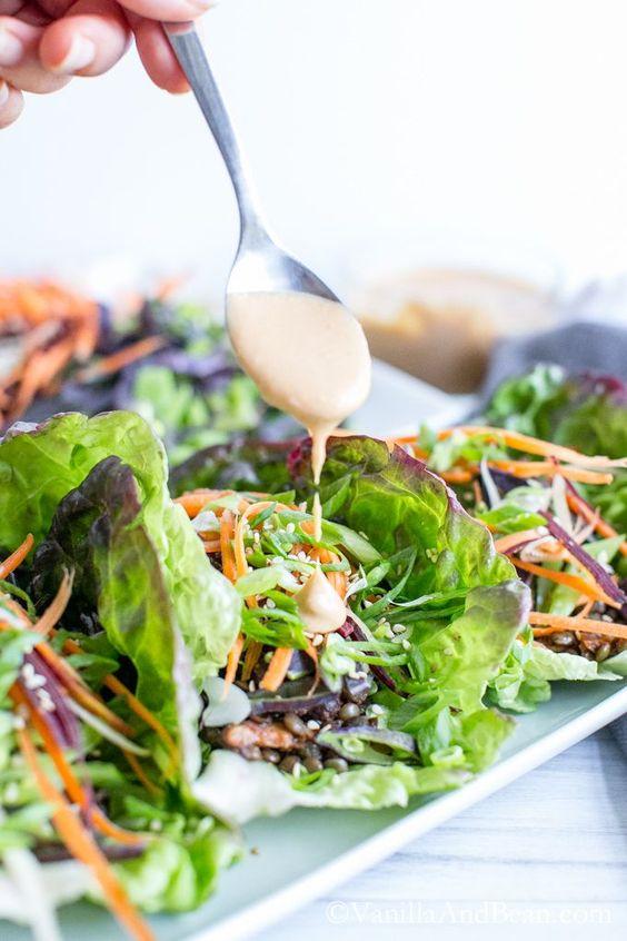 Curried Lentil Lettuce Wraps with Miso Sriracha Peanut Sauce | Recipe ...