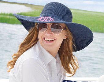 Monogrammed Floppy Beach Hat / Monogrammed Straw Hat / Monogrammed Sun Hat / Beach Hat / Womens Floppy Hat / Monogrammed Summer Hat