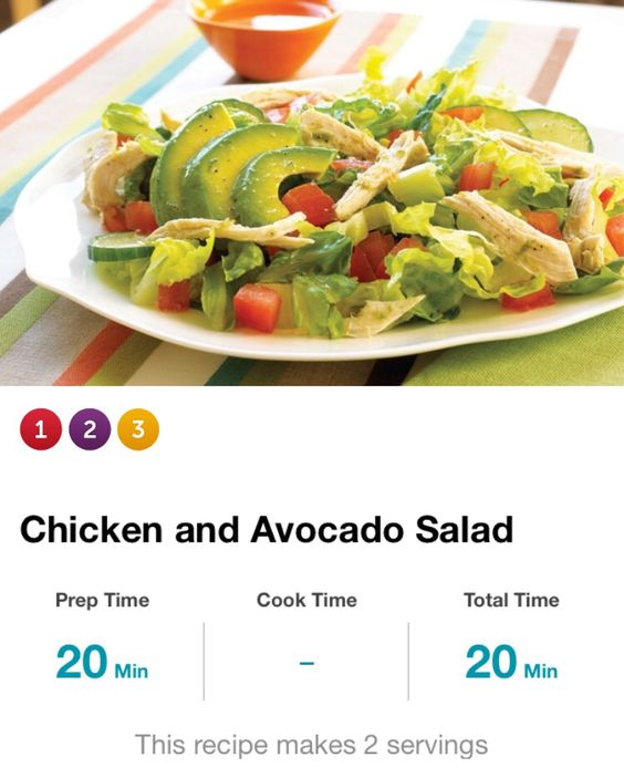 Chicken & Avocado Salad: 4 1/2tsp olive oil, 1tbsp lime juice, 1 1/2tsp cilantro, salt & pepper, 1/2 head chopped romaine lettuce, 1 med sliced cucumber, 8oz roast, shred chicken breast, 1/2 med sliced avocado. Whisk oil, lime juice, cilantro & salt & pep. Bowl, comb lettuce, tom & cuke. Toss w/1/2 dress +salt & pep; 2 plates. Toss chx w/1/2tbsp rem dress, top w/avocado slcs, driz w/rem dress. Serv size = 3c. 380cal, 10g carbs, 5g fiber.