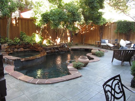 Backyards house and shape on pinterest for Country pool ideas
