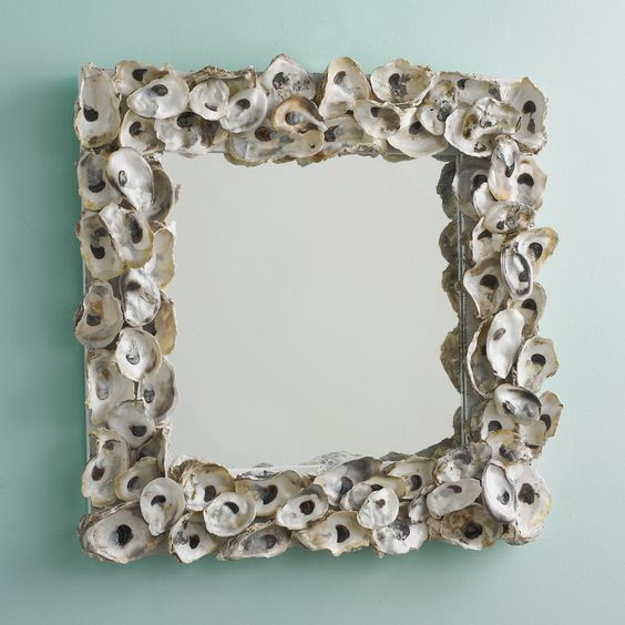 18 square oyster shell mirror real oyster shells frame a square mirror that is large bathroom vanity barnwood mirror oyster pendant lights