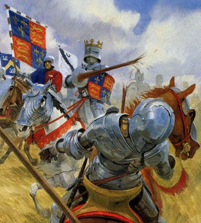Richard III at the battle of Bosworth Field on his white charger. Legend has it that the horse was called White Surrey.