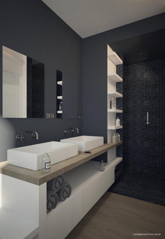 Comment utiliser le gris dans la déco ? Une salle de bain en ton