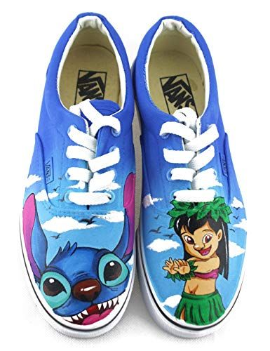 cdfa048425 Lilo and Stitch Vans White Shoes Original Design Canvas Chuck Sneakers Men  Women Sneakers Free Shipping