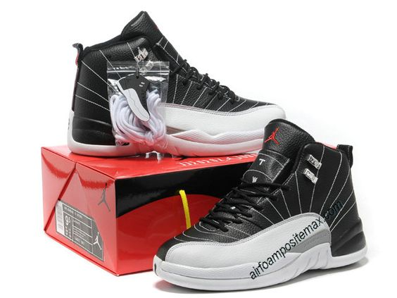 Fake Jordans Air Jordan 12 Retro In Black White Gray #Black #Womens #Sneakers