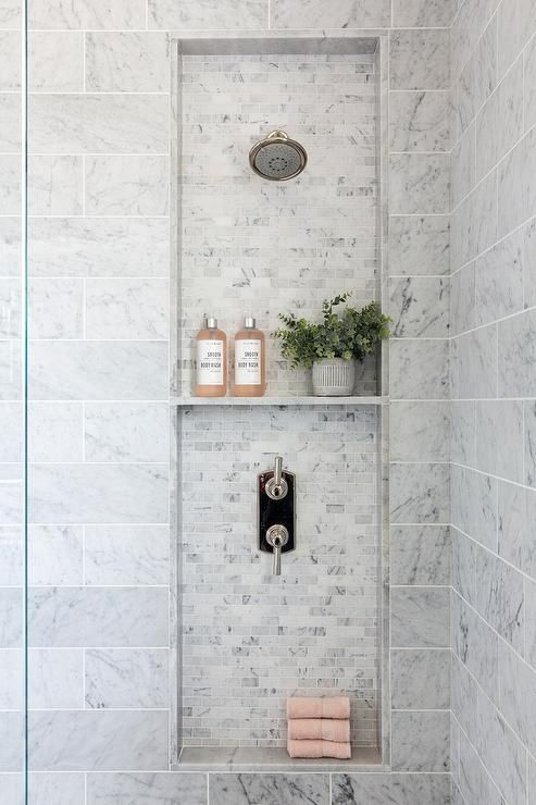 Stacked Niches Are Fitted With A Polished Nickel Shower Head