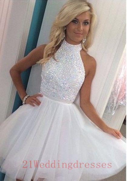 Hot Sales Beautiful White Short Prom DressesHomecoming Dresses ...