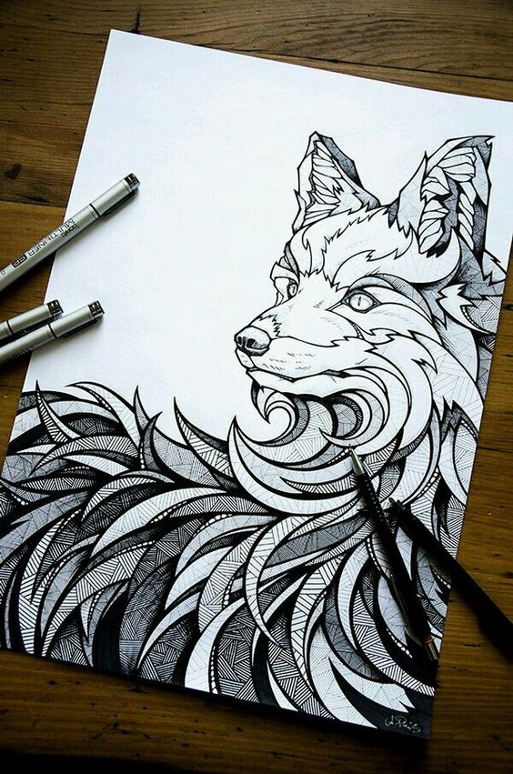 Wolf zentangle dessin pinterest wolf drawings for Cool fox drawings