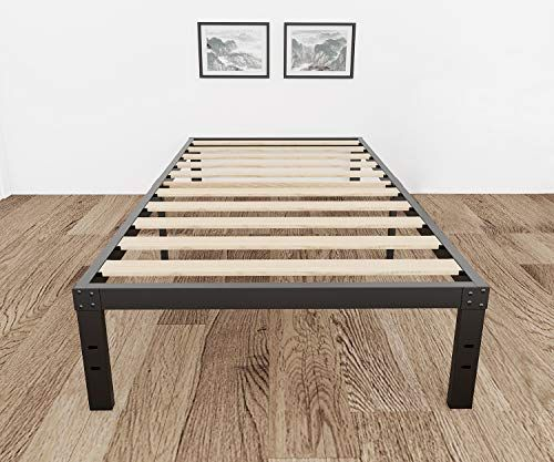 3800lbs Heavy Duty 14 Inch Steel Wooden Slat Support Reinforced Platform Bed Frame Mattress Foundation No Box Spring Needed Easy Assembly Noise Free Twin Full In 2020 Wood Platform Bed Frame Wooden Slats Bed Frame Mattress