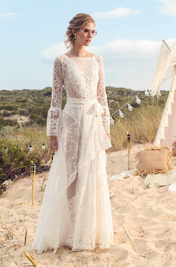 Michelle Wedding Dress Long Very Special Lace Dress With Long Sleeves Open Back Tie Ar Bohemian Wedding Dress Designers Wedding Dresses Long Wedding Dresses