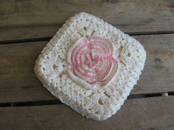 Crochet Cream Pink Pot Holder Coaster Trivet by MyVintageTable, $5.00