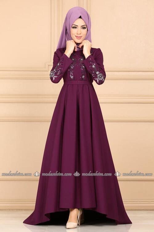 Modaselvim Abiye Nakisi Tasli Pileli Tesettur Abiye 9332w153 Murdum Elbiseler The Dress Elbise