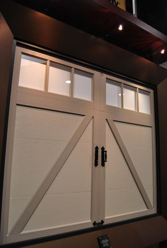 Overlays garage design and tans on pinterest for Composite garage doors that look like wood