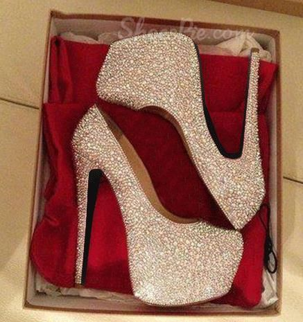Gorgeous White Coppy Leather Amazing Rhinestone Platform High Heel