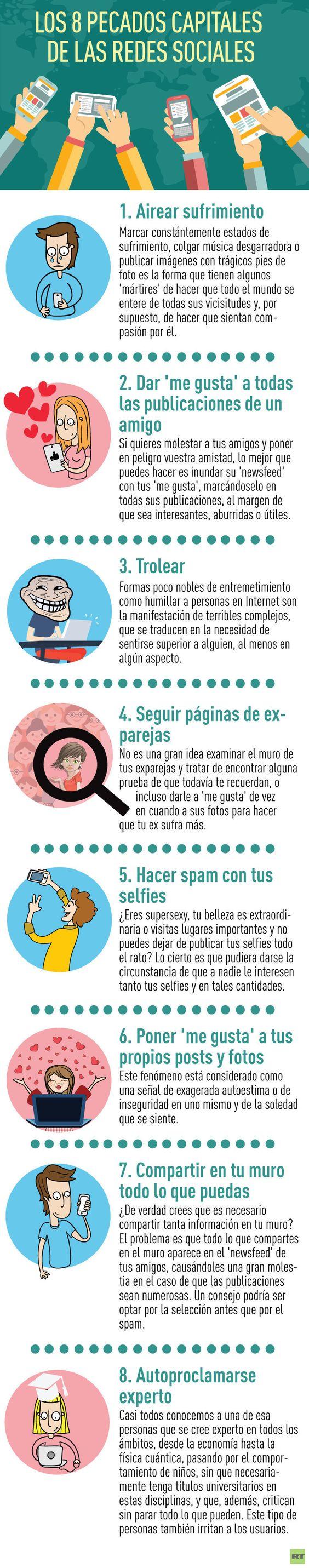8 pecados capitales de las Redes Sociales #infografia