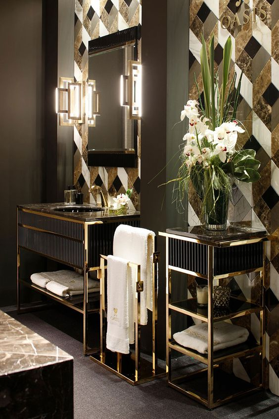 10 Best Golden Aesthetics for Your Bathroom Design See More Inspiring Articles At  http. 10 Best Golden Aesthetics for Your Bathroom Design   Art deco