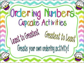 Ordering 2-Digit, 3-Digit and 4-Digit Numbers Cupcakes Cut and ...