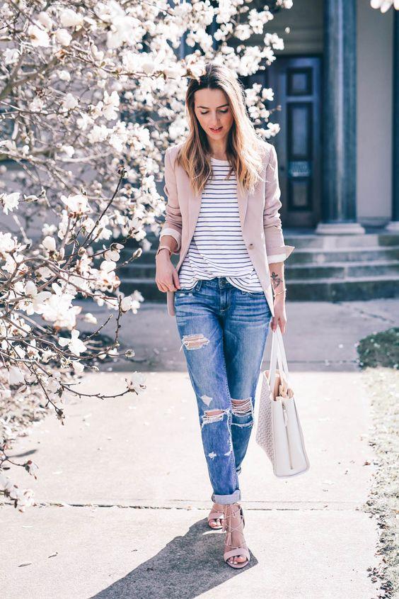 blush blazer white tote ripped boyfriend jeans prosecco. Black Bedroom Furniture Sets. Home Design Ideas