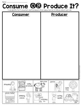 consumer or producer sort sheet economics first grade kindergarten language arts. Black Bedroom Furniture Sets. Home Design Ideas