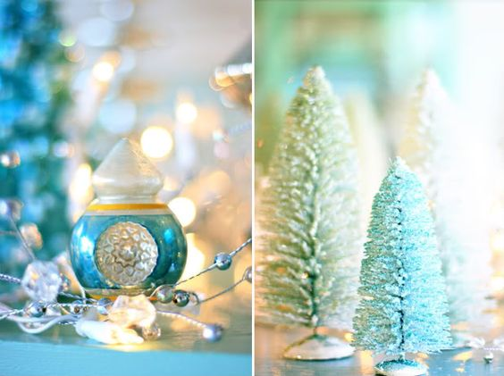need aqua ornaments for new house... | blue and silver Christmas ...