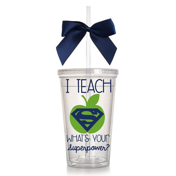 I Teach What's Your Superpower? Teacher Appreciation Acrylic Tumbler