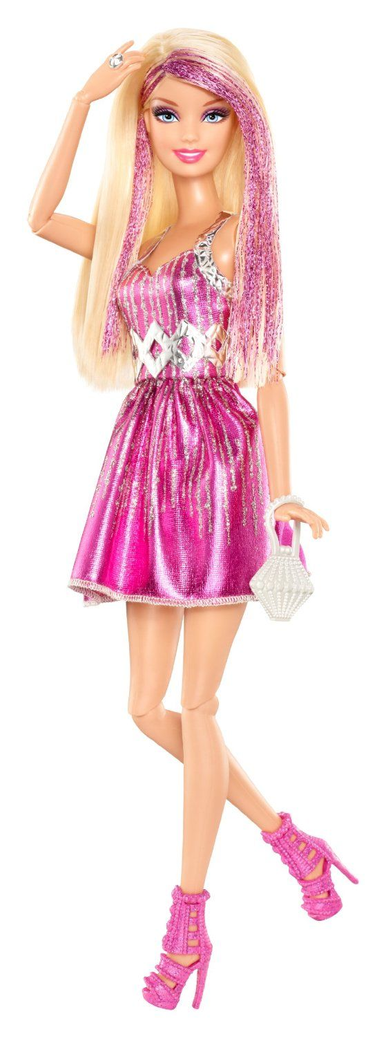 Barbie Fashionista Doll in Blonde Pink ~ Amazon.co.uk | Ages 3+ |  The Barbie Fashionistas dolls are a very fashionable tribe of friends who love to embrace new trends. This season is all about playing w/ color & these girls have jumped right in. Barbie doll in Pink wears an adorable mini-dress w/ silver sparkle as trim ~ A white diamond-shaped bag & strappy pink booties scream style maven.