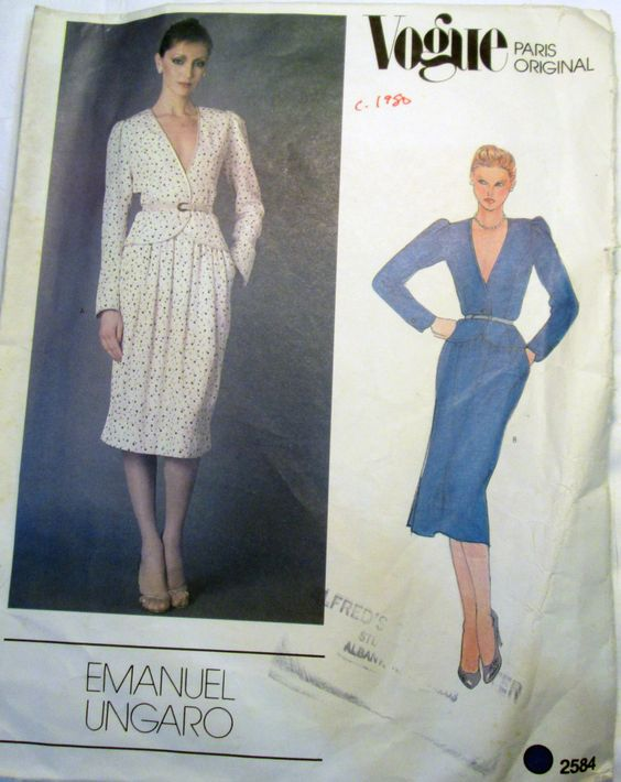 """1980s Emanuel Ungaro Princess Seam Jacket Top and Straight Skirt sewing pattern Size 8 Bust 31.5"""" Vogue 2584 UNCUT FF by retroactivefuture on Etsy"""