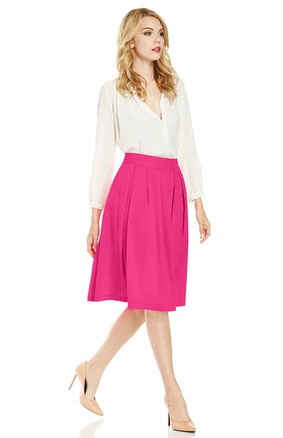 A-Line Pleated Midi Skirt