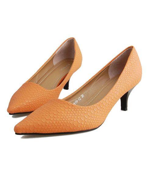 Orange Point Toe Kitten Heeled Shoes in Snake Skin Print