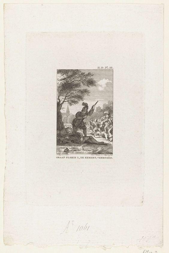 Reinier Vinkeles   Moord op Floris I, 1061, Reinier Vinkeles, Cornelis Bogerts, 1780 - 1795   Graaf Floris I wordt op 28 juni 1061 te Nederhemert slapend onder een boom vermoord. Bij de prent een tekst in handschrift die de gebeurtenis beschrijft.