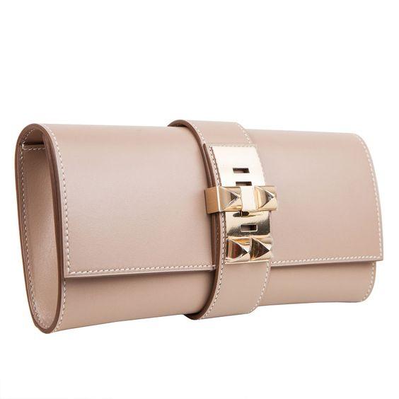 Argyle Medor Hermes Clutch Bag Gold Ghw