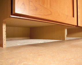 Don't let the space under your cabinets go to waste,  great for secret storage.  Or, install toe-kick drawers for storing aluminum foil, baking pans, etc.