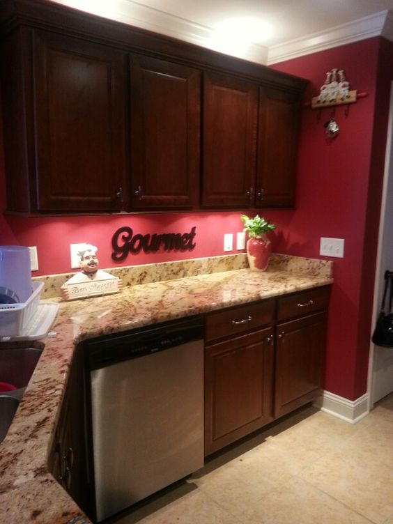red kitchen  New Kitchen  Pinterest  Red Kitchen, Dark Cabinets and