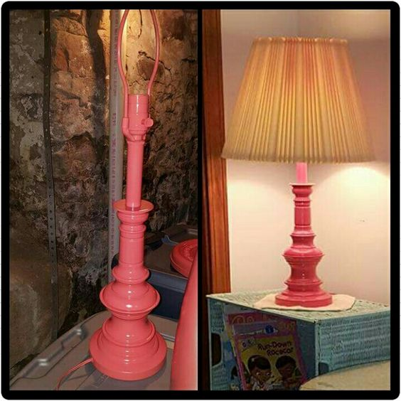 Old, ugly gold lamp turned new for my daughter's room with just some spray paint!