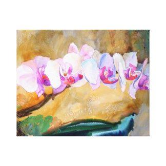 Impressão das orquídeas da pintura da aguarela impressão em tela