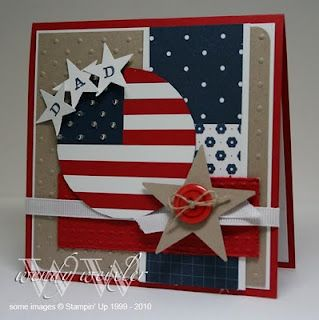 Circle flag patriotic card. Perfect for military dads with stars, buttons, ribbon and string. Love this!