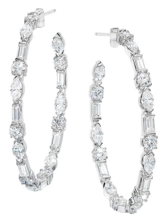 Ivanka Trump 18k White Gold Medium Diamond Hoop Earrings at London Jewelers!
