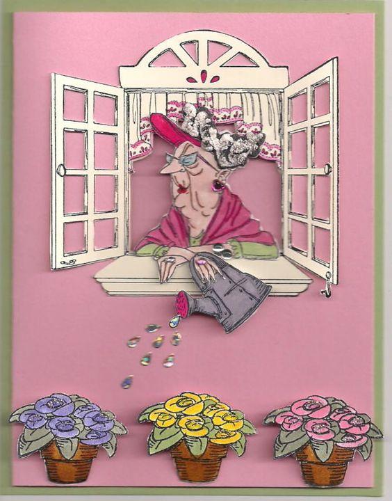 Fronts & Backs  Violet Front & Back (Sku#U1715) pink Grandma handmade window card.  Front of card.