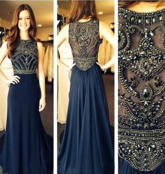 Brilliant Beading Navy Blue Prom Dress Long Evening Formal Party ...