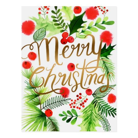 Merry Christmas Wreath  - Postcard