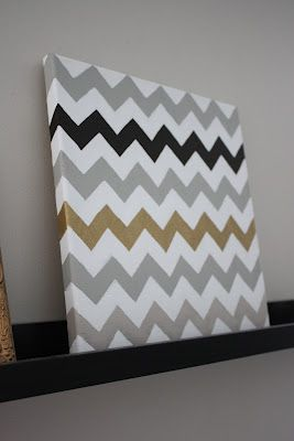How To: Chevron Painted Canvas- Must do in kitchen theme colors <3 love this