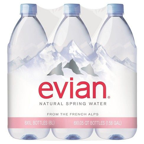 Evian Natural Spring Water 6pk 1 L Bottles Natural Spring Water Evian Evian Bottle