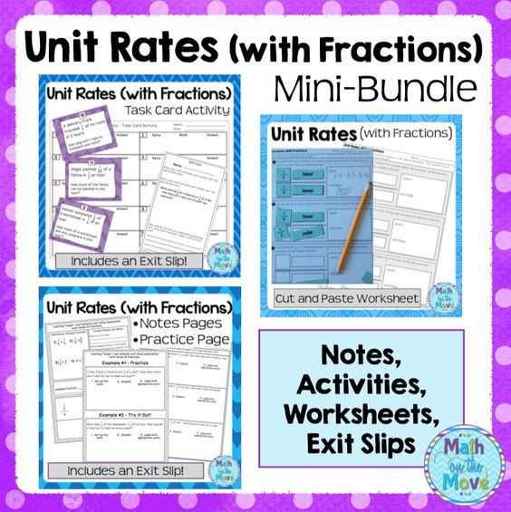 Unit Rates With Fractions Mini Bundle Notes Worksheets