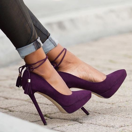 "❗️FLASH SALE ❗️HP ✨ Purple Suede Platform Heels NWB. Excellent condition. Never worn. 5.5"" outside heel. 1"" platform. Feels like 4.5"". NO TRADES/PAYPAL. Shoe Dazzle Shoes Platforms"